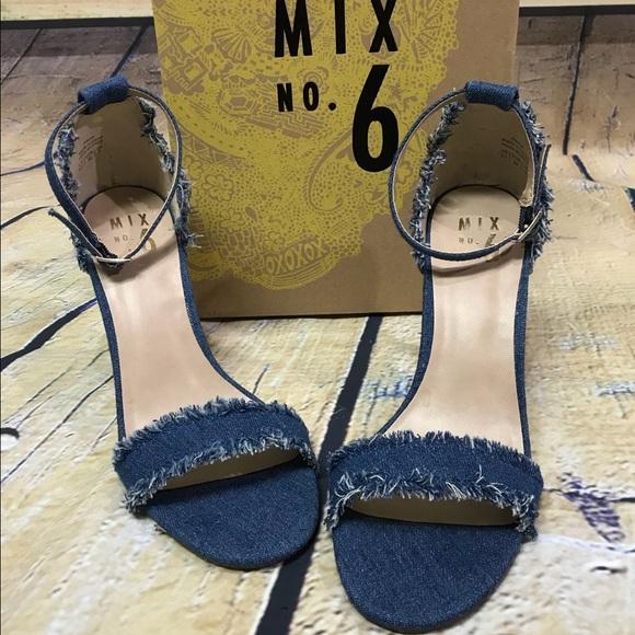 920b5d0f9fca NIB Mix No. 6 Pavia Denim Ankle Strap Heels